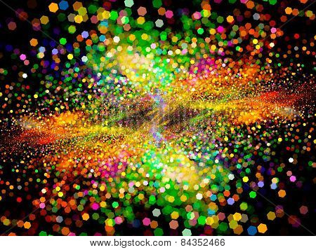 Colorful Glowing Particles In Space