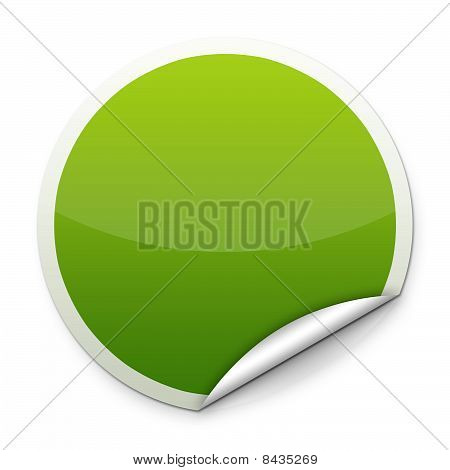 Green round sticker