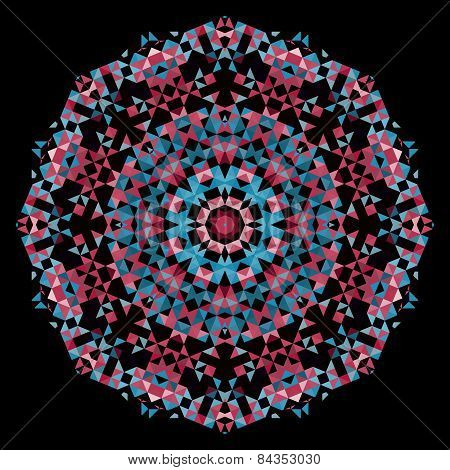 Abstract Flower. Creative Colorful Style Vector Wheel. Red Pink Blue Black Dominant Color