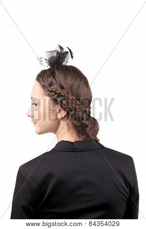 Girl with ribbon and hairstyle.