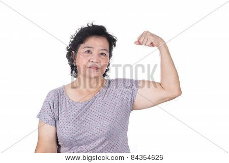 Strong Asian Senior Female Showing Off Her Biceps Flexing Muscles His Arm, Isolated On White Backgro