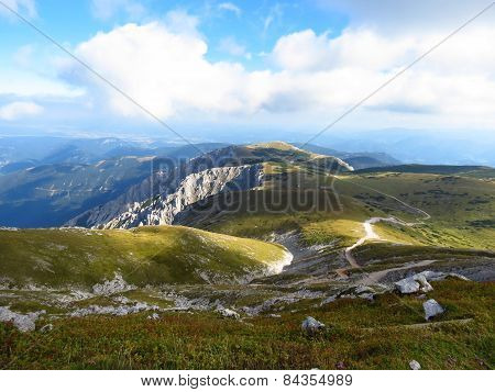 Scenery With Hiking Trail To Fischerhutte On Schneeberg, The Highest Mountain In Lower Austria