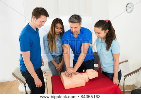Resuscitation Training Using First-aid Dummy