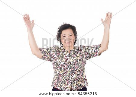 Woman Holds Her Arms Wide Open, Imagine The Size In The Air, Isolated On White Background.