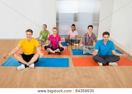 Group Of People In Lotus Position