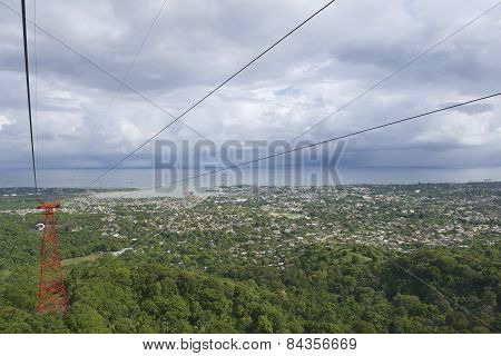 View to the Puerto Plata city from the cable car tram in Puerto Plata, Dominic