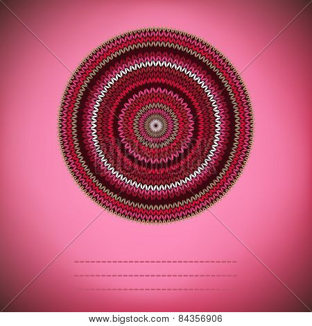 Cover Background With Ornamental Round Knitted Pattern, Style Circle Simple Red Pink White  Brown Co