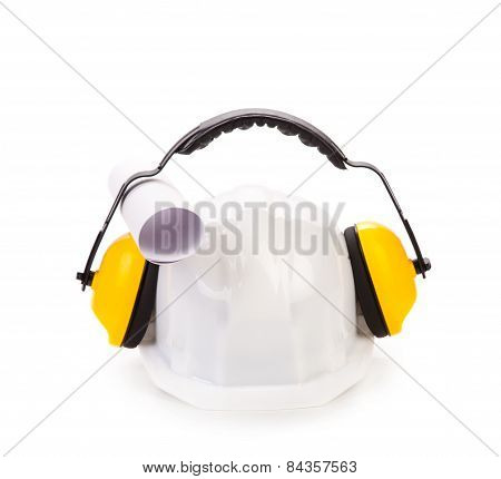 Hard hat and ear muffs.