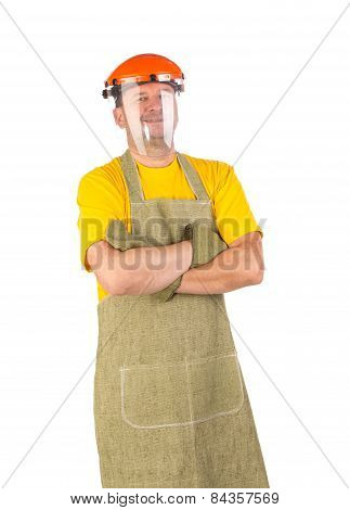 Welder with plastic protective face shield