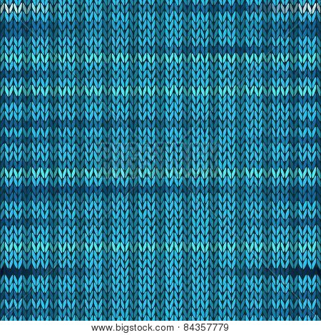 Style Seamless Knitted Melange Pattern. Blue Turquoise Color