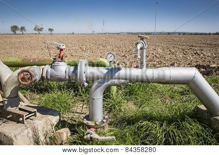 plumbing of an automatic irrigation system - farmland