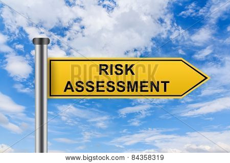 Yellow Road Sign With Risk Assessment Words