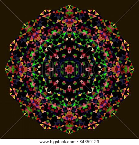 Abstract Round Background. Creative Colorful Style Vector Wheel. Red Green Blue Orange Black Dominan