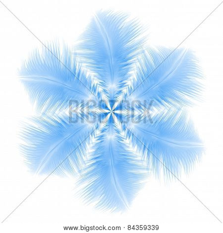 Abstract Snowflake Or Flower Combined By Blue Feathers. Eps10