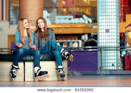 Beautiful girls on the rollerdrome