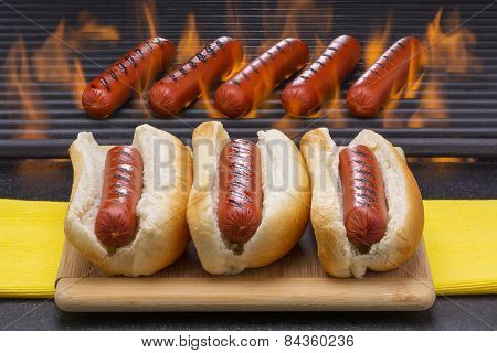 Hot Dogs on a Barbecue