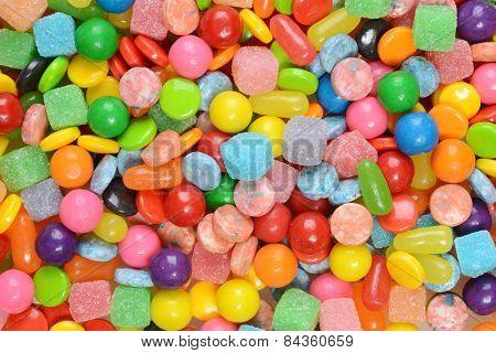 closeup of mixed candies