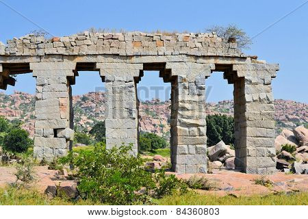 Ancient aqueduct of Hindu civilization in Hampi, India