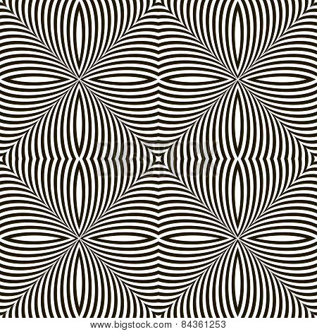 Black And White Geometric Vector Shimmering Optical Illusion. Modern Flickering Effect. Op Art Desig
