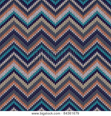 Seamless Geometric Ethnic Spokes Knitted Pattern. Blue White Orange Beige Color Knitwear Sample