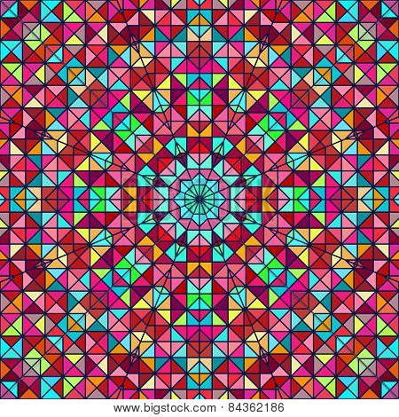 Abstract Colorful Digital Decorative Flower. Geometric Contrast Line Star And Blue Pink Red Cyan Col