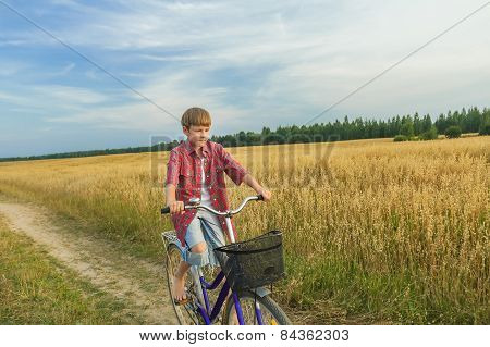 Teenage Boy During His Trip On Country Road