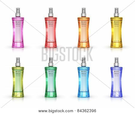 Set of color perfume bottles