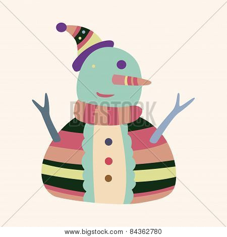 Snowman Cartoon Elements Vector,eps