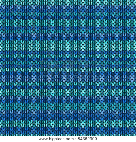 Vector Needlework Background, Blue Ornamental Knitted Pattern
