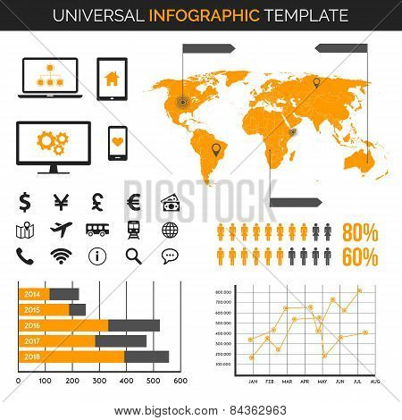 Infographic template with map, charts and icons - travel, demography and much more