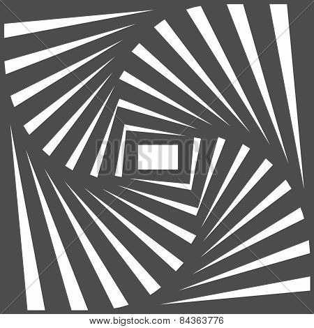 Black And White Optical Illusion. Op Art Vector Background With Frame. Abstract Lines Distortion Eff