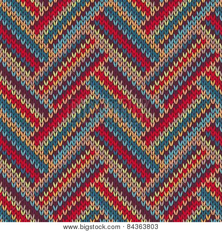 Knitted Seamless Red Blue Yellow Brown Orange Ornamental Striped Pattern
