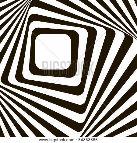 Abstract Lines Distortion Effect. Black And White Optical Illusion. Op Art Vector Background With Fr