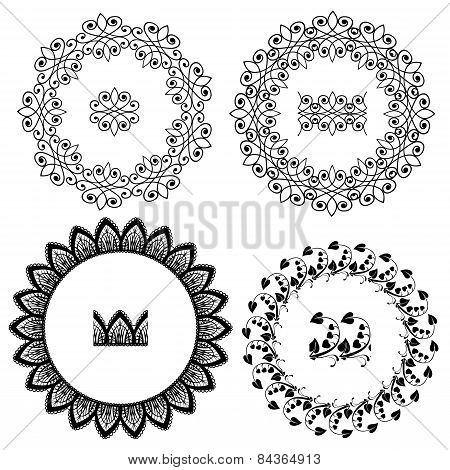 Set Of Vintage Backgrounds, Guilloche Ornamental Circle Elements For Certificate, Money, Diploma, Vo