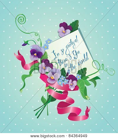 Vintage Card, Flowers, Ribbon And Old Paper Peace With Handwritten Calligraphic Text - I Am So Grate