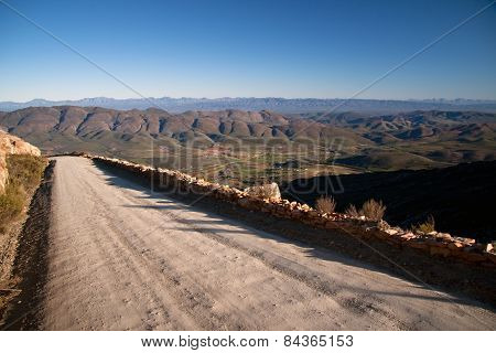 Looking down from a high mountain pass in South Africa