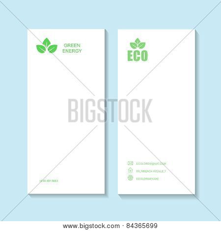 Ecological or eco energy company business card template with green leaves.