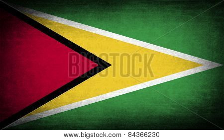 Flag Of Guyana With Old Texture. Vector