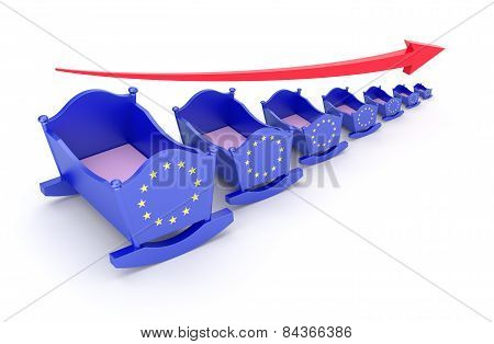 Birthrate concept with EU flag on the cradle