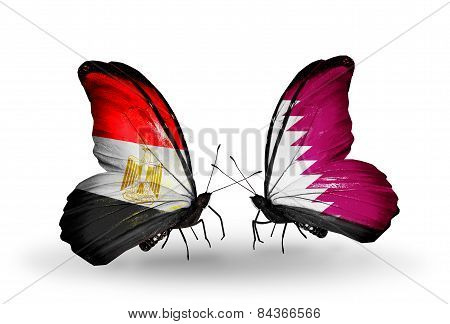 Two Butterflies With Flags On Wings As Symbol Of Relations Egypt And Qatar
