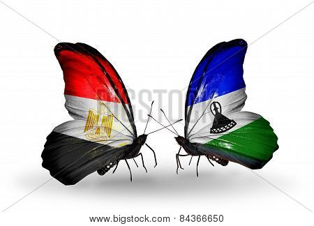 Two Butterflies With Flags On Wings As Symbol Of Relations Egypt And Lesotho