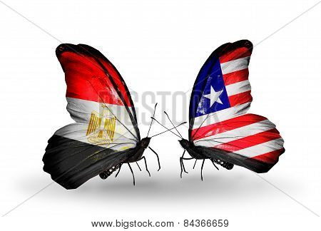 Two Butterflies With Flags On Wings As Symbol Of Relations Egypt And Liberia