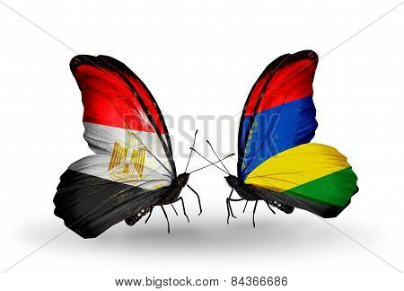Two Butterflies With Flags On Wings As Symbol Of Relations Egypt And Mauritius