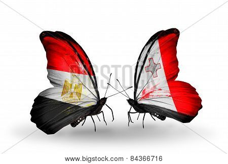 Two Butterflies With Flags On Wings As Symbol Of Relations Egypt And Malta