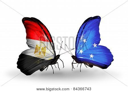 Two Butterflies With Flags On Wings As Symbol Of Relations Egypt And Micronesia