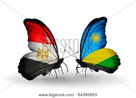 Two Butterflies With Flags On Wings As Symbol Of Relations Egypt And Rwanda