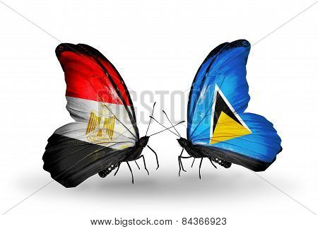 Two Butterflies With Flags On Wings As Symbol Of Relations Egypt And Saint Lucia