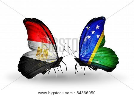 Two Butterflies With Flags On Wings As Symbol Of Relations Egypt And Solomon Islands