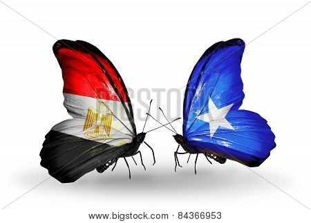 Two Butterflies With Flags On Wings As Symbol Of Relations Egypt And Somalia