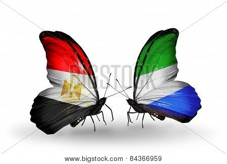 Two Butterflies With Flags On Wings As Symbol Of Relations Egypt And Sierra Leone